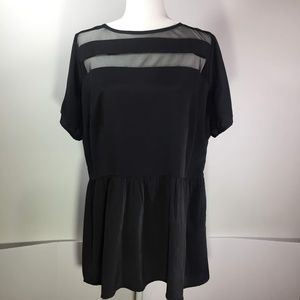 ASOS Black Blouse with Peplum Size 16